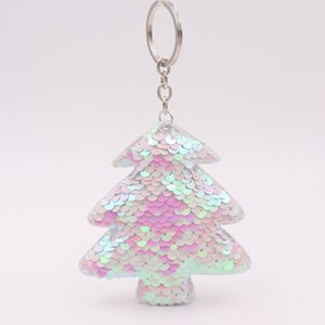 China factory cheap promote gift Christmas decoration Double-sided reflective sequin Christmas tree keychain sequin bag pendant car keychain