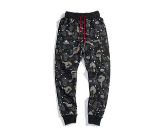 Erkek Moda Hip Hop Pantolon Köpekbalığı Nakış Gevşek Camo Pantolon Erkek Kadın Pamuk Sweatpants