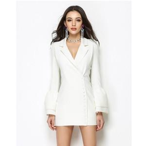 SIPAIYA 2020 Neue Ankunft Herbst und Winter Elegante Frauen Single Breasted gekerbte Blazer Anzug Sondergestaltung Mode Lange Jacke