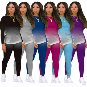 Winter Tracksuits Womens Gradient Print Two Piece Pants Set Long Sleeve Pullover Top Slim Pant Suits Outdoor Sports Wears Purple Pink Gray