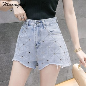 Streamgirl Drilling for Denim Wide Leg Sexy Loose Women's Summer Shorts Woman Short Jeans Women Casual