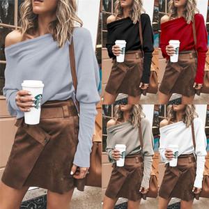 Féminin slash cou t-shirts sexy dolman manche en vrac tops de couleur solide mode printemps automne automne femmes t-shirts