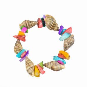 Seashell Conch Charm Bracelet Handmade Rice Snails And Colorful Square Shell Bracelet For Women Men Kids Beach Jewelry Gift H wmtJmQ
