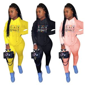 Plus Size Women Black Smart Tracksuit Designer 2 Piece Hooded Outfits Sweatsuit Letters Print Hoodie and Pants Sportswear clothing E112305