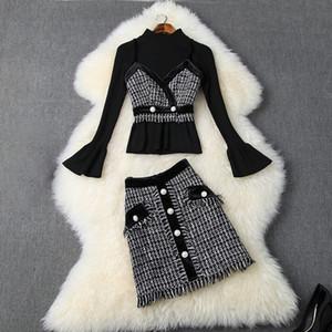 2019 queda de manga comprida pescoço preto top + tweed spaghetti strap + xadrez de impressão mini saia três 3 peças set o06t10265
