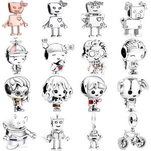 Nuevo robot Dog 925 Sterling Silver Charm Boy Girl Esmalte Colgante Bead Fits Pulsera DIY para las mujeres Accesorios No.013