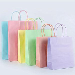 كيس ورق الكرافت المحمولة لون الحلوى هدية حقيبة مع مقابض تخزين تغليف حقيبة التسوق أكياس هدية التفاف DHC4819