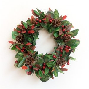 Hand-made red fruit wall garlands decorated with Christmas decorations on door hangings Free shipping