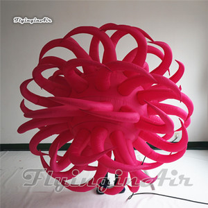 Customized Ceiling Decorative Lighting Inflatable Balloon 2m Pink Personalized Hanging Air Blown Globe With Tentacles For Party Decoration