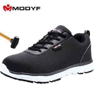 MODYF Chaussures de sécurité pour hommes Toe respirante en acier léger anti-écrasement antidérapante réfléchissant travail espadrille