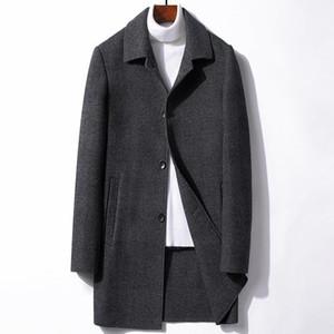 Winter Men's Medium Long Woolen Overcoat With Down Liner Double-sided Woolen Jacket