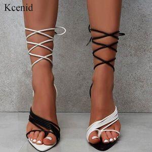 KCenid Summer Sandals Sandali Sandali bianchi Black Black Strappy High Heel Sandali Gladiatore Sandali appuntiti con lacci Sexy Sexy Femmina Scarpe da festa C0202