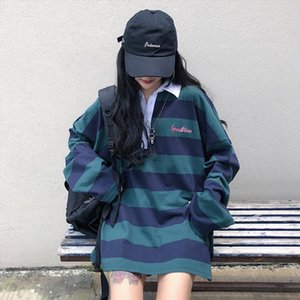 fashion 2020 new style womens long sleeve striped shirts casual turn down collar shirts cotton lady oversize XZ737