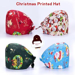 Christmas Printed Cotton Adjustable Pet Work Hats Dust Cap Nursing Cap Elastic Beauty Hats Beauty Salon Baotou Hat Pet Scrubs