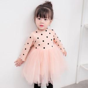 3 Colors Baby Girl Dot Dress Princess Kid Dresses Cute New Knit Long Sleeves Gauze Dress Autumn Patchwork Tulle Bubble Skirt