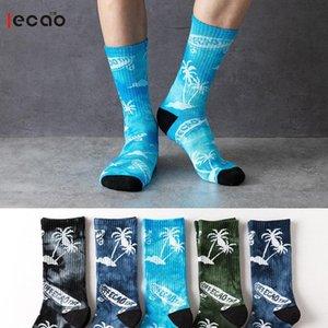 Toalhas de meias no outono e inverno de papel de fundo espessamento caráter Han edição tie-tintura bordo de basquete meias