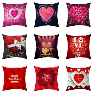 45*45CM Valentine's Day Pillow case Polyester White Pillow Cover Cushion Cover Decor Pillow Case Blank Car Decor Gift 300pcs T1I3495
