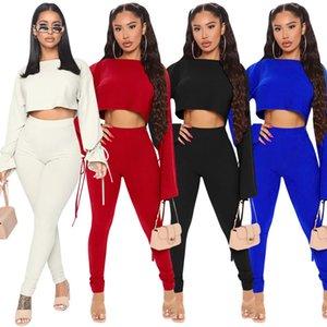 Trajes de las mujeres Dos piezas Set Designer New Fashion Temperament Slim Trumpet Sleeve Pants Trajes Trajes deportivos Lababy156