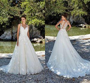 Sexy Illusion Back A Line Wedding Dresses 2021 Fashion Lace Appliqued Sweep Train Bridal Gowns Boho Garden Plus Size Robes De Mariée AL7766