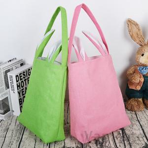 Easter Rabbit Basket Easter Bunny Gift Bags Rabbit Handbag Printed Canvas Tote Bag Bowknot Candies Baskets 50pcs T1I3412
