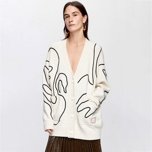 2021 New Embroidered Beige Retro Cardigan Women Autumn Winter Long Sleeve Single Breasted Sweater Casual Vintage Sweaters Tops 5w9t