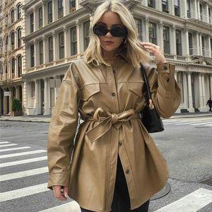 BLSQR pu roupas de couro mulheres moda bolsos soltos lapela casacos longos mulheres elegante gravata cinto cintura casacos feminino senhoras