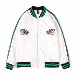 Outono e inverno marca chinês tigre cabeça bordado jaqueta casaco magro top moda homens desgaste