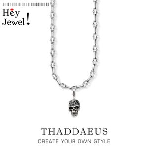 Skull Pave Charm Necklace,2020 Summer Brand New Fashion Jewelry Europe 925 Sterling Silver Bijoux Rebel Steel Gift For Women Men Z1126