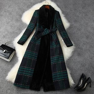 2020 Fall Winter Long Sleeve Shawl Neck Green Plaid Tweed Panelled Mink Belted Thick Long Coat Elegant Long Outwear Coats LN26T11629