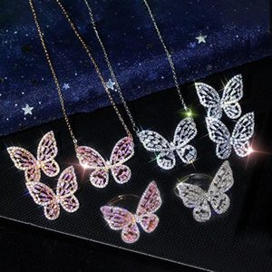 Butterfly Choker Pendant Necklace Cubic Zircon Earrings Rings Set Bling CZ Vintage Animal Charm Statement Jewelry Sets Bijoux for Women Girl