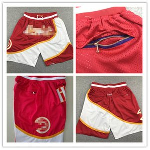 2020 Mens Swingman Atlanta Basketball Shorts JUST DON By Mitchell & Ness MEN Pocket Retro Hawks Shorts Icon Edition