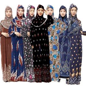 2021 Nueva cubierta completa Islamista tradicional Hiijab + Vestido de Trajes de Ramadán Medio Oriente de Mujeres Oración LJWS