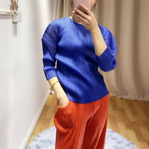 Spring Miyak pleated Women T shirt Puff sleeve design solid color round neck large size was thin and stylish personality T shirt