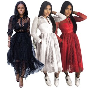 Women's Fashion Designer Clothing Lace Mesh Long Sleeve Perspective Women Dresses The New Arrivals Listing 2020 DHL