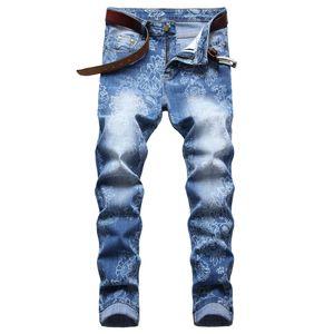 Männer Slim Fit Ripped Jeans Mode Gerade Bein Stretch Gedruckt Biker Denim Pants Herren Blau Reguläre Hose Große Größe D672