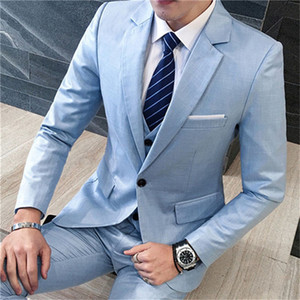 Custom Made Groomsmen Notch Lapel Groom Tuxedos Light Blue Men Suits Wedding Prom Dinner Best Man Blazer ( Jacket+Pants+Tie+Vest ) K890