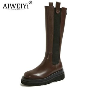 AIWEIYi Women Genuine Leather Boots Handmade Round Toe Autumn Winter Fashion Casual Shoes Ladies Platform Boots
