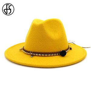 FS Vintage Wool Felt Jazz Fedora Hats Men Women Dress Wide Brim Panama Trilby Gentleman Formal Cap Black Yellow Red Pink Hat