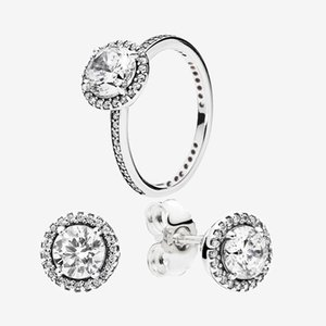 Big CZ diamond Wedding RING and Earring set with Original box for Pandora 925 Sterling Silver Women rings & stud Earrings