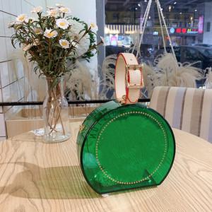 Diseñadores bolsas dama transparente bolso redondo joyería lápiz labial con bolsas de hombro claro de cadena bolsos de mujer bolsos mini monedero con caja