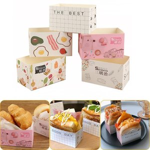 50PCS Cake Packaging Bagsand Wrapping Paper Thick Egg Toast Bread Breakfast Packaging Box Burger Oil Paper Paper Tray 201015