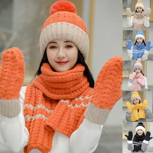 Women Winter 3Pcs Pompom Beanie Hat Long Scarf Gloves Set Contrast Color Chunky Knit Plush Lined Skull Cap Neck Warmer Mittens