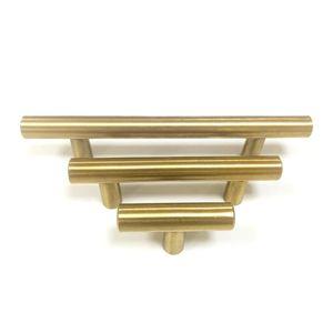 Simple T-shaped handle Stainless steel cabinet door drawer handle Furniture hardware Simple brushed wardrobe handle Golden