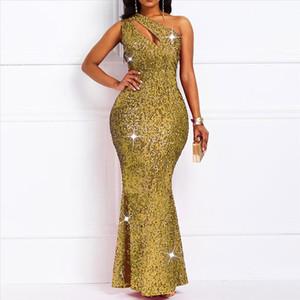 Golden Reflective Sexy Sequins Dress Women One Shoulder Plus Size Elegant Ladies Bodycon Long Evening Party Club Dresses