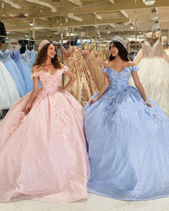 2021 Fashion Light Blue Pink Quinceanera Dresses Ball Gowns Prom For Sweet 16 Girls Floral Applique 3D Flowers Off Shoulder Formal Dress