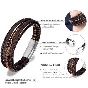 Fashion Vintage Bracelets for Men Natural Stone Beaded Bracelets Leather Magnetic Stainless Steel Buckle Braided Bracelets