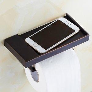 Antik Siyah Bakır Doku Tutucu Cep Telefonu Raf Ile Siyah Tuvalet Kağıdı Sahipleri Bronz Porte Papier Toilette Deniz Nakliye GWB4779