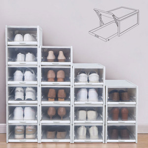 Baffect 2 3 Pack Shoe Boxes Shoe Rack Plastic Stackable Shoebox Shoe Home Organizer Storage Drawers for High Heels Sneakers LJ201125