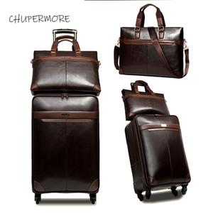 Chupermore retrò PU in pelle rotolamento bagagli deposito spinner uomo business valigia ruote 16 pollici cabina cabina carrello da 16 pollici LJ200921