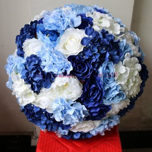 2PCS lot 55cm Artificial silk rose hydrangea peony wedding decoration kissing ball Road lead flower wall TONGFENG